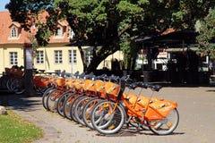 骑自行车关于自动自行车在老出租Cyclocity 库存图片