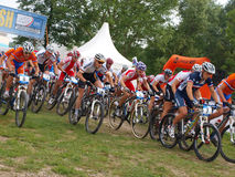 骑自行车冠军dohnany欧洲山uec 免版税图库摄影