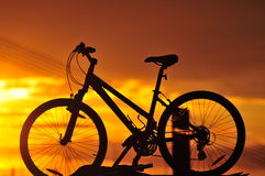 骑自行车剪影 库存图片
