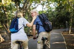 骑自行车在公园的资深夫妇 库存照片