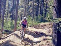 骑自行车在加拿大的山 免版税库存照片