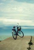 骑自行车在多云天空背景的海滩 葡萄酒减速火箭的猪圈 免版税库存图片