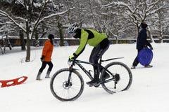 骑自行车在小山的冰 免版税库存照片