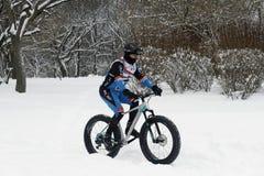 骑自行车在小山的冰 图库摄影