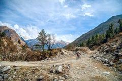 骑自行车在尼泊尔的山 免版税库存图片