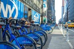骑自行车在纽约天街道上的聘用  库存照片
