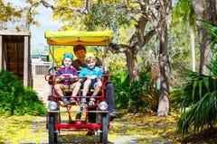 骑自行车在自行车的爸爸和两个小孩男孩 免版税图库摄影