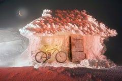 骑自行车在Goverla的山在新年 库存照片