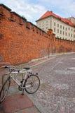 骑自行车在Wawel城堡克拉科夫防御墙壁  免版税图库摄影