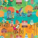 骑自行车女孩 夏天 秋天 模式无缝的向量 免版税库存照片