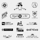 骑自行车徽章商标和标签其中任一的用途 免版税库存照片