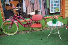 骑自行车支持的窗口,与在边的花 免版税图库摄影