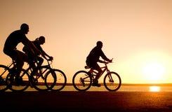 骑自行车朋友 免版税库存照片