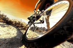 骑自行车浅骑自行车的骑自行车者深度域重点森林现有量山的透视图 体育和健康生活 免版税图库摄影