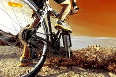 骑自行车浅骑自行车的骑自行车者深度域重点森林现有量山的透视图 体育和健康生活 库存照片
