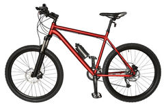 骑自行车浅骑自行车的骑自行车者深度域重点森林现有量山的透视图 免版税库存图片