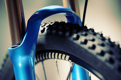 骑自行车浅骑自行车的骑自行车者深度域重点森林现有量山的透视图 库存图片