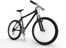 骑自行车浅骑自行车的骑自行车者深度域重点森林现有量山的透视图 免版税图库摄影