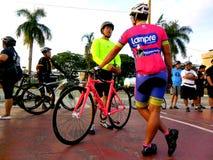 骑自行车的人为自行车乐趣乘驾聚集在marikina城市,菲律宾 免版税图库摄影