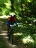 骑自行车的人五颜六色的山 免版税库存图片