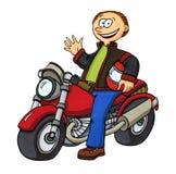 骑自行车的人他的摩托车 免版税库存照片