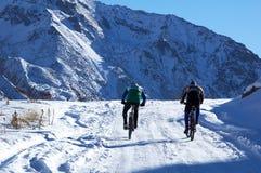 骑自行车的人冬天 库存照片