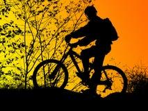 骑自行车的人剪影 免版税图库摄影