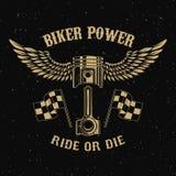 骑自行车的人力量 与翼的活塞在黑暗的背景 库存例证