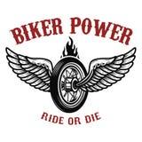 骑自行车的人力量 与翼的轮子 向量例证