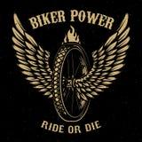 骑自行车的人力量 与翼的轮子 库存例证