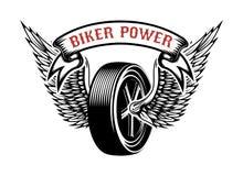 骑自行车的人力量 与飞过的轮子的象征 设计商标的,标签,象征,标志元素 库存例证
