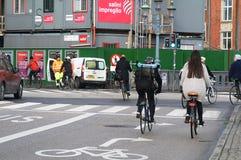 骑自行车的人在哥本哈根 图库摄影