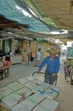 骑自行车的人在食物和鱼市上 库存图片