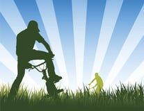 骑自行车的人夏天 向量例证