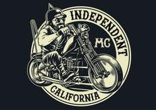 骑自行车的人帮会成员骑马摩托车 皇族释放例证