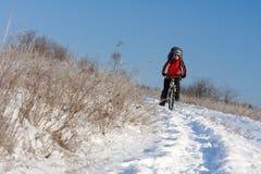 骑自行车的人微笑的雪 免版税库存照片
