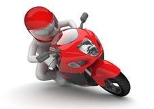 骑自行车的人接近  向量例证