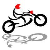 骑自行车的人摩托车骑马 免版税库存图片