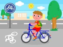 骑自行车的人男孩传染媒介 库存照片