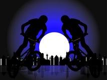 骑自行车的人男孩slhouetted 图库摄影