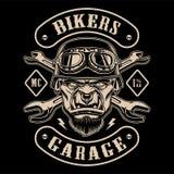 骑自行车的人补丁黑白设计与字符的 皇族释放例证