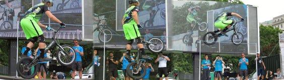 骑自行车的人跳跃的障碍 免版税库存照片