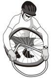 骑自行车的人轮胎 库存例证