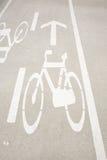 骑自行车的人运输路线符号 免版税图库摄影