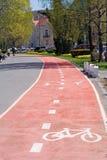骑自行车的人运输路线 库存照片