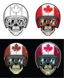 骑自行车的人头骨佩带的风镜和难看的东西塞内加尔旗子盔甲,手图画头骨 库存例证