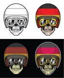 骑自行车的人头骨德国旗子盔甲 库存例证