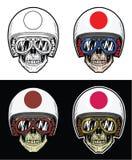 骑自行车的人头骨日本旗子盔甲 向量例证