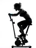 骑自行车的健身姿势妇女锻炼 库存照片