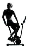 骑自行车的健身姿势妇女锻炼 免版税库存图片